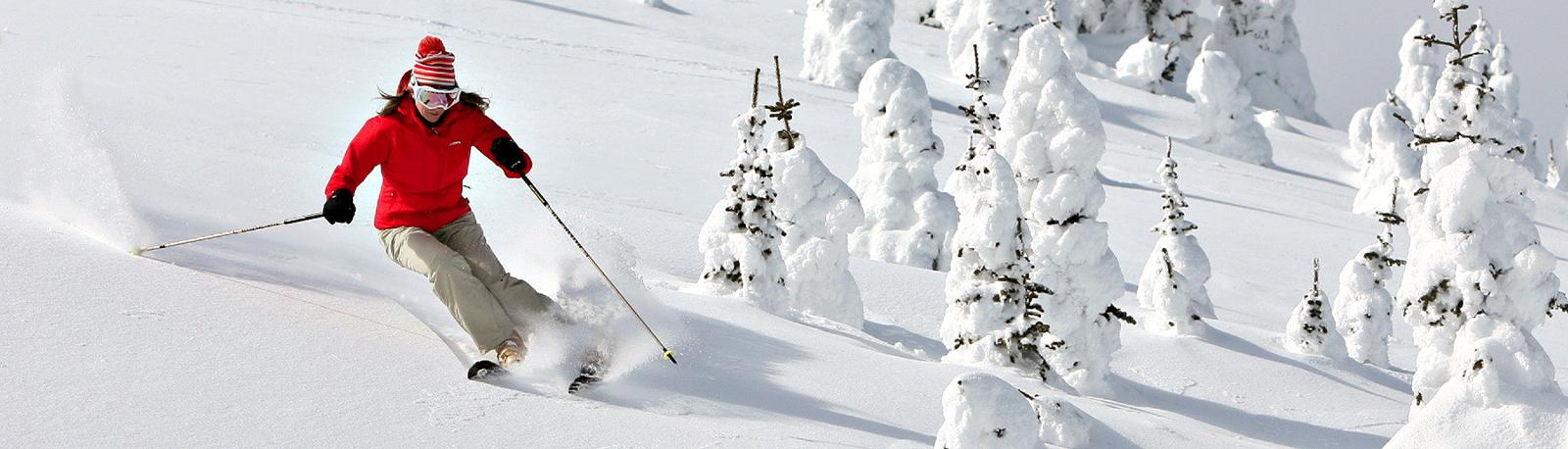 female skier dodging 'ghosts' in Sun Peaks